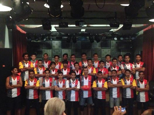 A proud moment: the Garudas sporting their new jumpers in preparation for the debut at the AFL's 2014 International Cup in Melbourne.