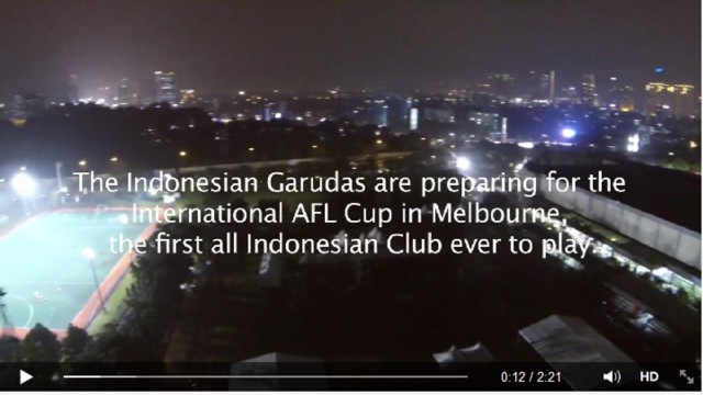 The Indonesian Garudas have released a promo video in the lead up to the AFL's 2014 International Cup.