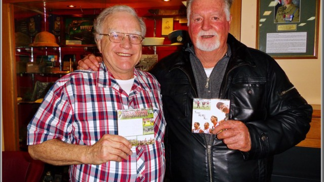 """Stan Middleton, last week with John Heaney, the man who started footy in Vietnam back in 1966 - with the single, """"Forever We Will Run""""."""