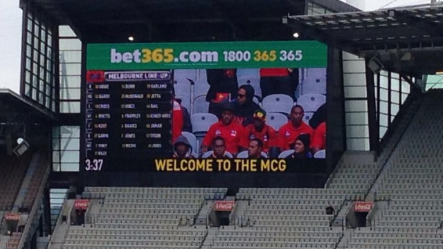The Indonesian Garudas on the big screen today at the MCG.