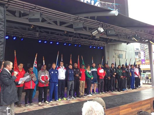 The 25 AFL International Cup captains presented on stage in front of more than 1000 people at Fed Square
