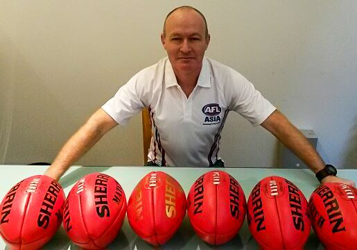Stenno sporting six Sherrins in the lead up to the AFL Asia event in Melbourne on 17 August 2014.