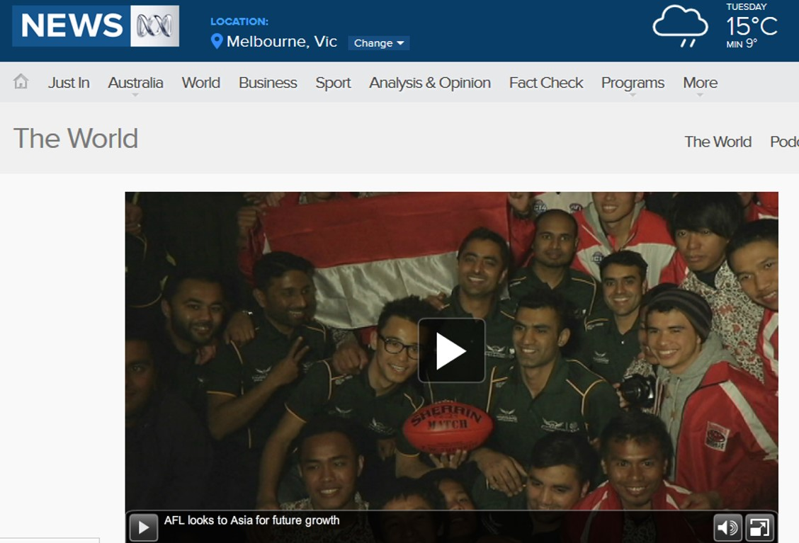 ABC TV reports on AFL Asia.