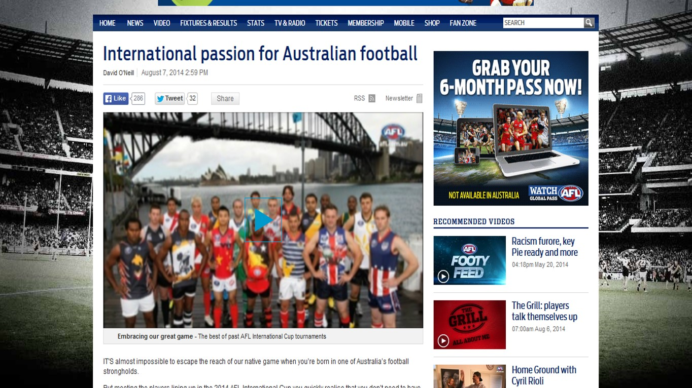 International passion for Australian football