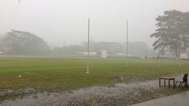 How good's footy in Asia - whatever the conditions.