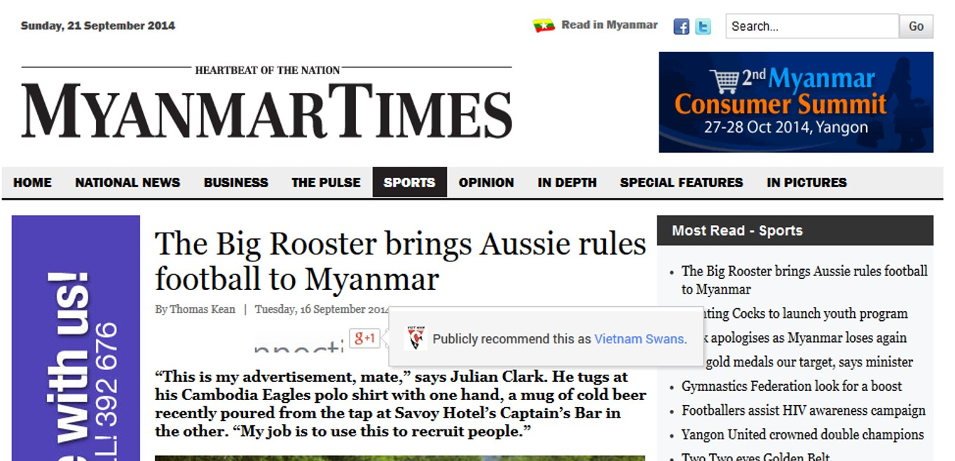 The Big Rooster talks about footy in Asia with the Myanmar Times.