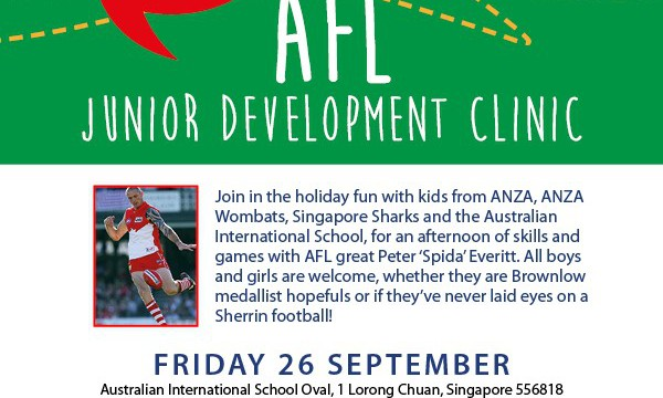 Singapore to host AFL Junior Development Clinic, 26 Sept