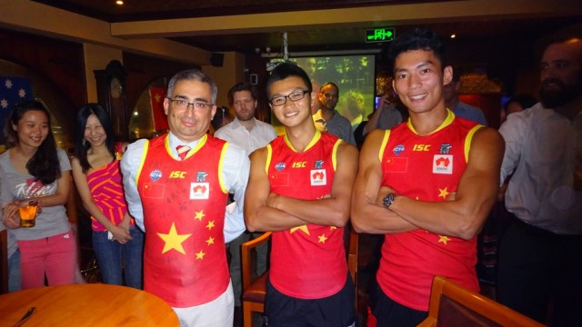 Consul General Trindade proudly wears his jumper signed by the Team China Power Dragons - presented by Zhang Hao and Chen Shaoliang