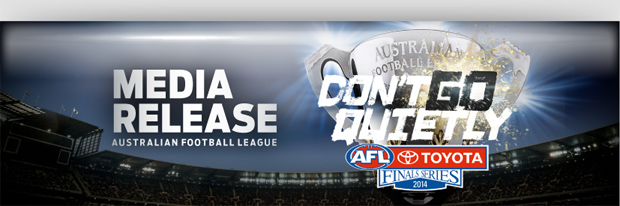 Running sheet for tomorrow's 2014 AFL Grand Final.