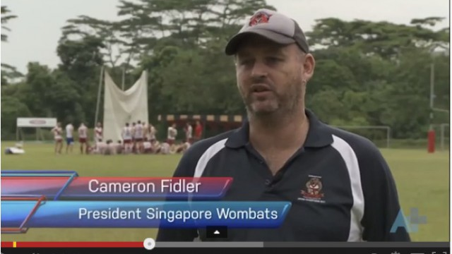 Cam Fidler, Singapore Wombats president on Australia Network last weekend.