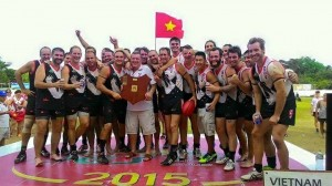 The Vietnam Swans celebrating a big win for the club over 2014 Champions Singapore