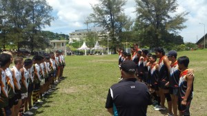 Borneo Bears and Jakarta Garudas paying tribute in Balikpapan - photo courtesy of AFL Indonesia