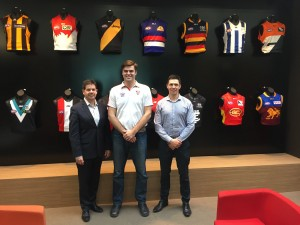 Grant Williams, AFL General Manager - Community Football Operations (left) and Peter Williams, AFL Multicultural and International Coordinator (right) meeting with AFL Asia Interim President Grant Keys recently at AFL House