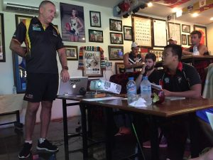 Swans new local recruit Vinh soaking it up at the iconic Tommy's Bar