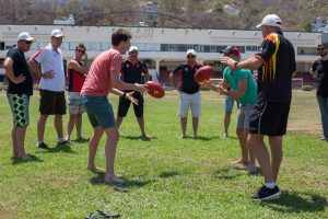 Wally demonstrating the basics at Vung Tau's historic Lord Mayor's Oval