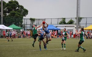 Players from Hong Kong Dragons and Macau Lightning do battle at the special ANZAC SCAFL Round